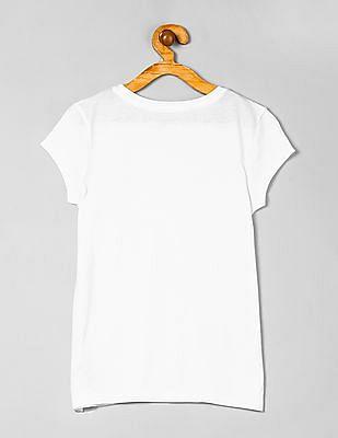 GAP Girls White Short Sleeve Glitter Print T-Shirt