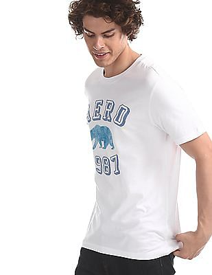 Aeropostale White Crew Neck Brand Applique T-Shirt