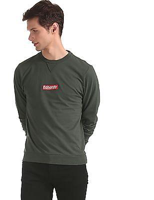 Ed Hardy Green Crew Neck Cotton Sweatshirt