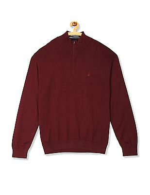 Nautica Solid Jersey Quarter Zip Sweater