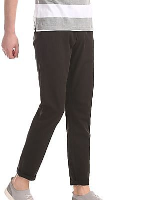 Roots by Ruggers Brown Slim Fit Solid Trousers