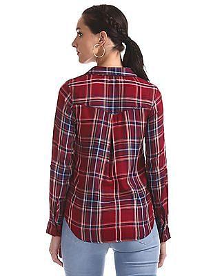 Cherokee Red Tie Up Hem Check Shirt