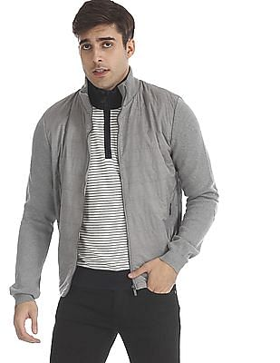 Arrow Sports Grey Quilted Panel Knit Jacket