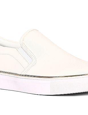 Stride White Metallic Accent Slip On Shoes
