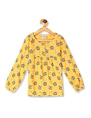 Cherokee Yellow Girls Floral Print Woven Top