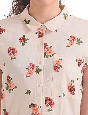 Elle Studio Floral Print Shirt Dress