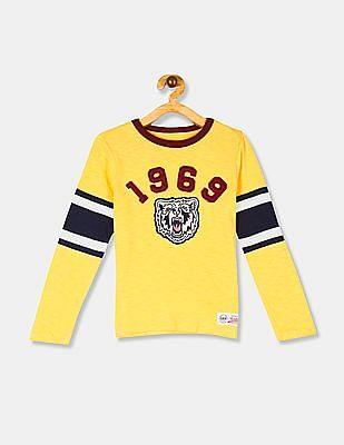 GAP Yellow Boys Long Sleeve Football Graphic T-Shirt