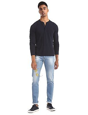 Flying Machine Blue Michael Slim Tapered Fit Washed Jeans