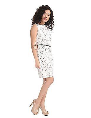 Elle Studio White Polka Dot Print Shift Dress