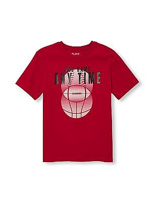The Children's Place Boys Short Sleeve 'Any Game Any Time' Sports Balls Graphic Tee
