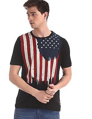 Cherokee Black Crew Neck Flag Print T-Shirt