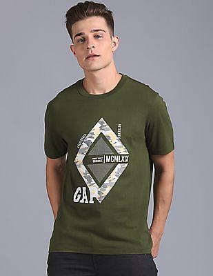 GAP Men Green Printed Graphic Tee