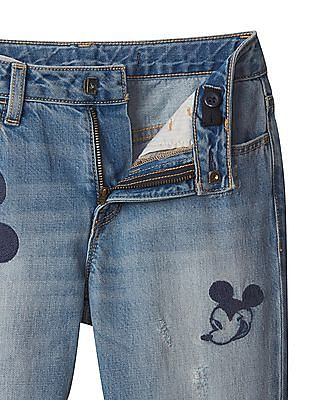 b57eeef35e155 Buy Girls Girls Disney Mickey Mouse Embroidered Girlfriend Jeans online at  NNNOW.com