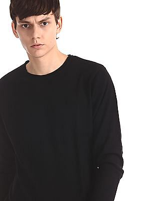 Flying Machine Black Round Neck Patterned Knit Sweater
