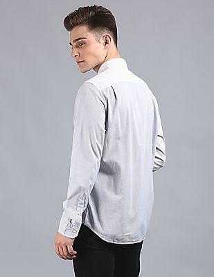 GAP Men Blue Pattern Poplin Shirt In Stretch
