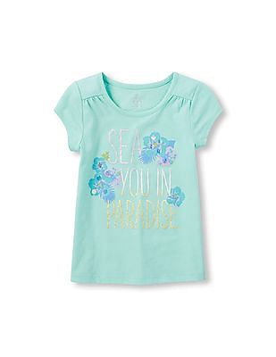 The Children's Place Girls Short Sleeve Embellished Drapey Top