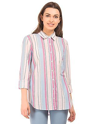 Aeropostale Lurex Striped Cotton Shirt
