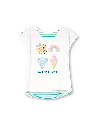 The Children's Place Girls White Short Sleeve Embellished Graphic Stripe Back Hi Low Top