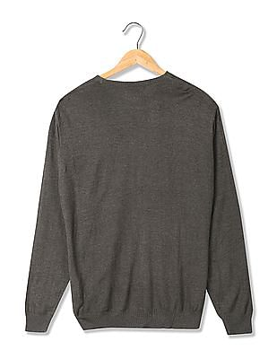 Flying Machine Patterned Front Ribbed Neck Sweater