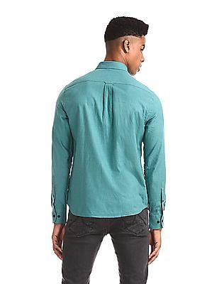 U.S. Polo Assn. Green Tailored Regular Fit Solid Shirt
