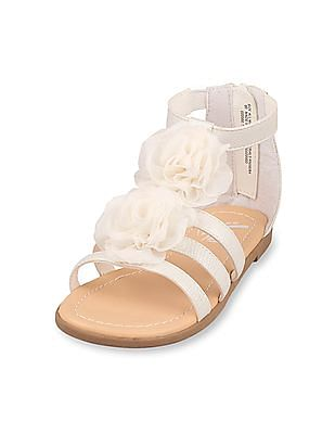 The Children's Place Girls White rosette gladiator zahara sandal