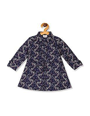 Donuts Blue Girls Printed Shirt Dress