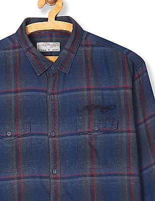 Ed Hardy Spread Collar Check Shirt