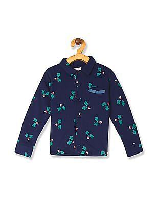Donuts Blue Boys Printed Knit Shirt