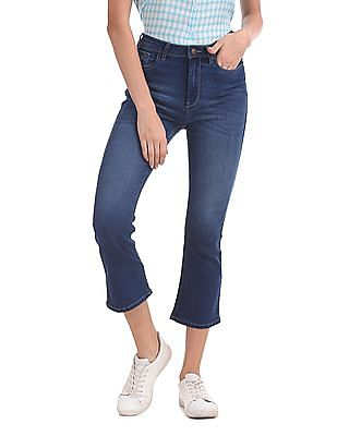 Flying Machine Women Kick Flare Cropped Jeans