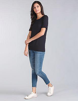 GAP Women Blue Pure Body Modal Short Sleeve Tee