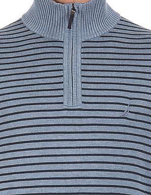Nautica Mock Collar Striped Sweater