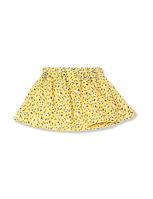 Donuts Yellow Girls Bow Waistband Floral Print Skirt