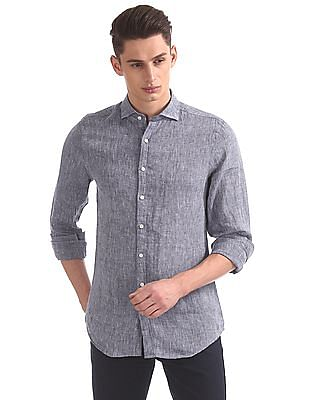Gant Linen Slim Fit Concealed Spread Collar Shirt