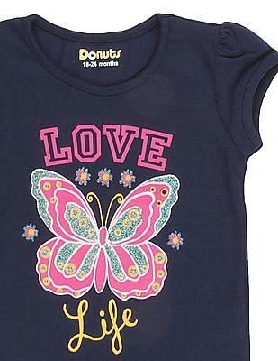 Donuts Girls Glitter Print T-Shirt