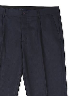 Excalibur Blue Pleated Front Striped Trousers