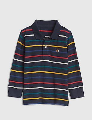 GAP Baby Crazy Stripe Long Sleeve Polo Shirt