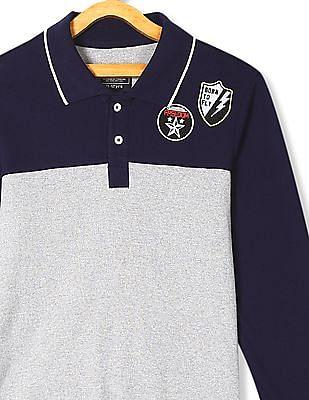 Cherokee Blue And Grey Boys Long Sleeve Polo Shirt