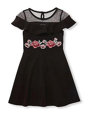 The Children's Place Girls Short Sleeve Sheer Ruffle Yoke Embroidered Knit Dress