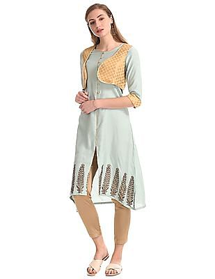 Anahi Blue Printed Kurta With Shrug