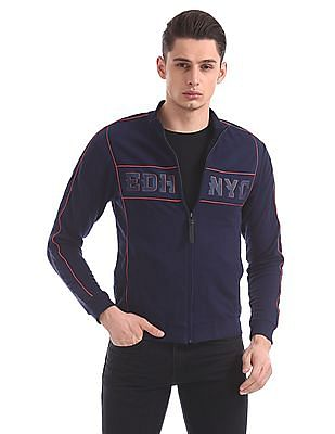 Ed Hardy Slim Fit Appliqued Zip Up Sweatshirt