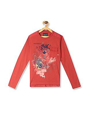 Cherokee Red Boys Long Sleeve Printed T-Shirt