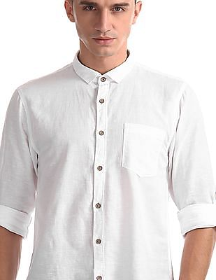 Cherokee White Roll Up Sleeve Cotton Linen Shirt