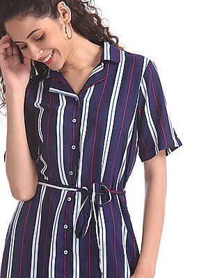 U.S. Polo Assn. Women Blue Striped Belted Shirt Dress