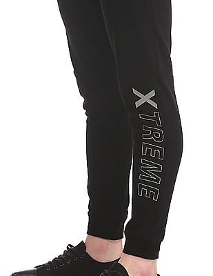 Flying Machine Black Panelled Printed Joggers