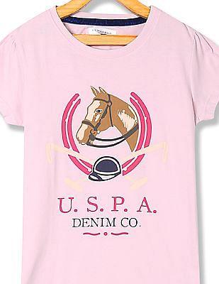 U.S. Polo Assn. Kids Girls Regular Fit Graphic T-Shirt