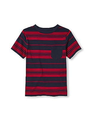 The Children's Place Boys Red Short Sleeve Striped Pocket Tee