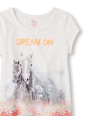 The Children's Place Girls Short Sleeve Embellished Hi-Low Top