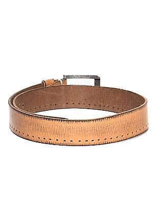 Flying Machine Brown Perforated Side Leather belt