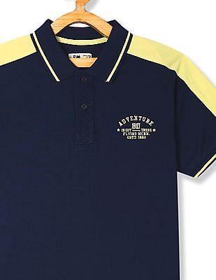 FM Boys Blue Boys Contrast Panel Tipped Polo Shirt