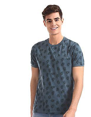 Cherokee Blue Vented Hem Printed T-Shirt
